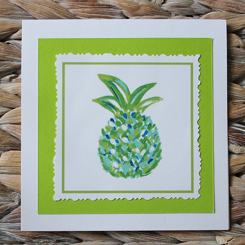 Green Turquoise Pineapple Note Card