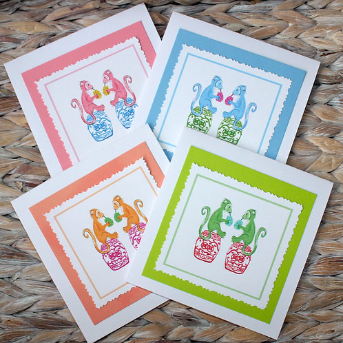 Chinoiserie Monkey Hand Cut Note Card Set