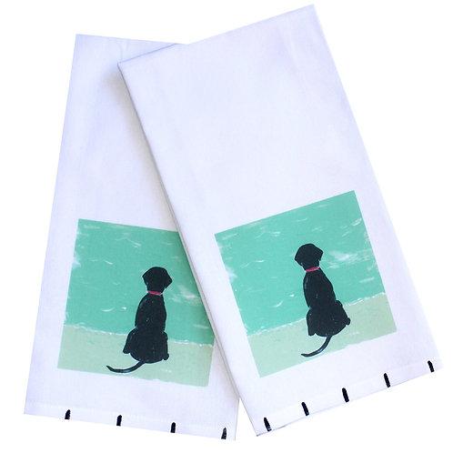 Black Lab Beach Dog Tea Towel
