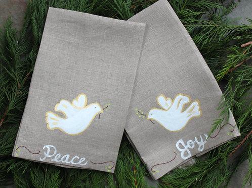 Peace and  Joy Dove Linen Guest Towel Set