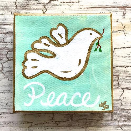 Gold and White Peace Dove Original Canvas Mini Art