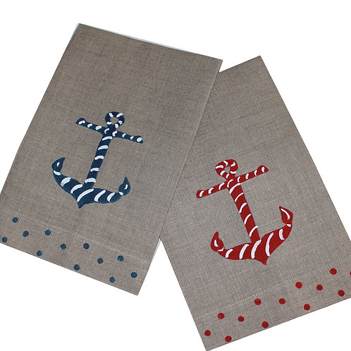 Nautical Anchor Linen Guest Towels
