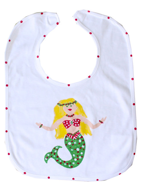 Christmas Mermaid Baby Bib