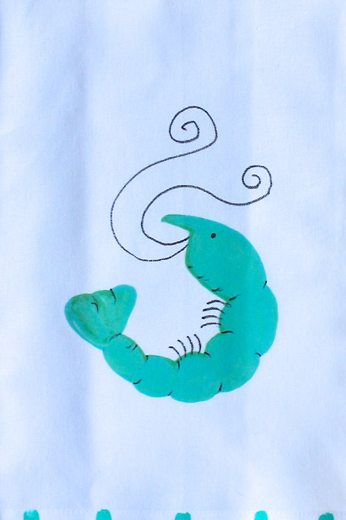 Turquoise Shrimp Kitchen Towel