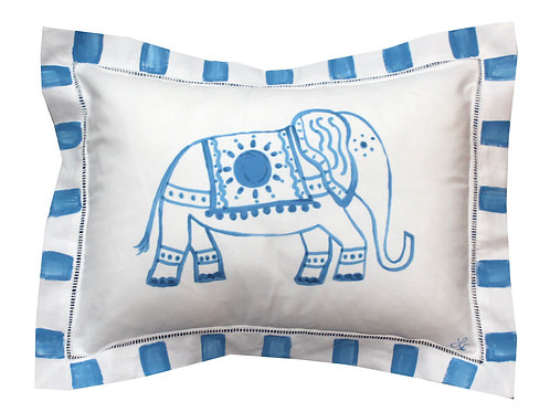 Blue and White Elephant Pillow