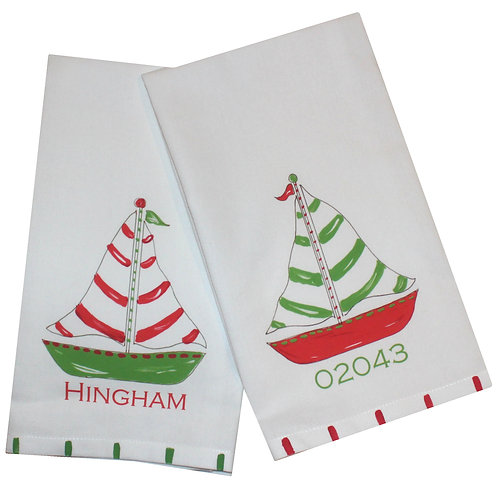 Red and Green Sailbaot Kitchen Tea Towel