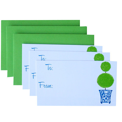 Blue Chinoiserie Topiary Gift Enclosure Card Set