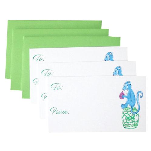 Blue Monkey Chinoiserie Garden Stool Gift Enclosure Card Set