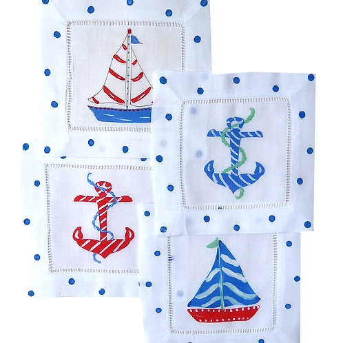 Red White and Blue Nautical  Linen Cocktail Napkins
