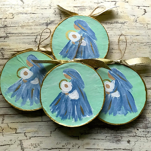 Mary and Baby Jesus Hand Painted Christmas Ornament