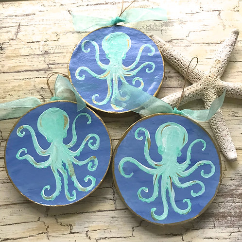 Turquoise Octopus Coastal Christmas Ornament