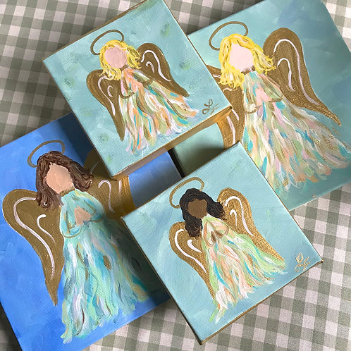 Turquoise Angels Original Canvas Mini Art