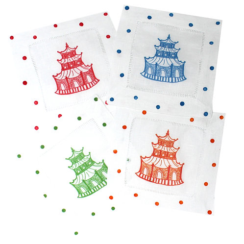 Primary Color Chinoiserie Pagoda Linen Cocktail Napkins