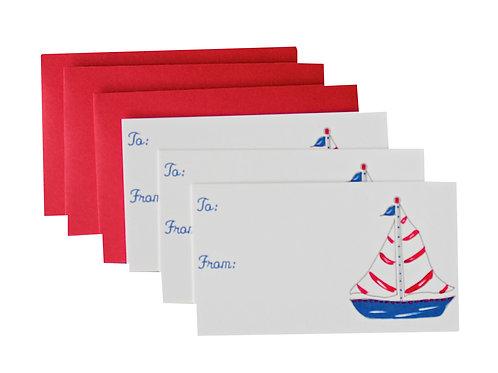 Nautical Sailboat Gift Enclosure Card Set