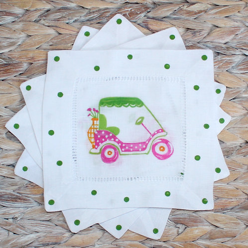 Pink and Green Golf Cart Cocktail Napkins