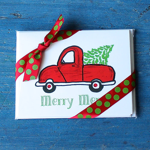 Red Christmas Truck Note Card Set