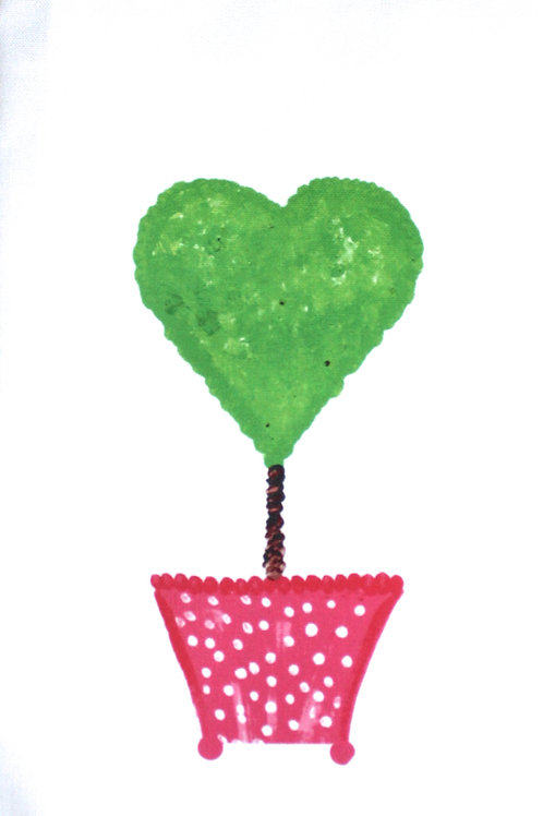 Pink Heart Topiary Kitchen Towel