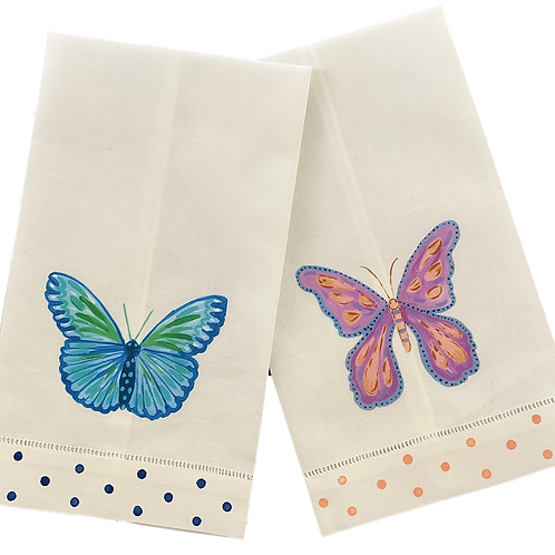 Colorful Butterfly  Linen Guest Towel