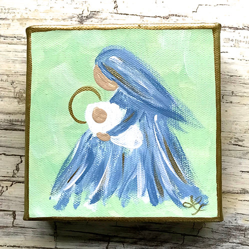 Mary and Baby Jesus Original Canvas Mini Art