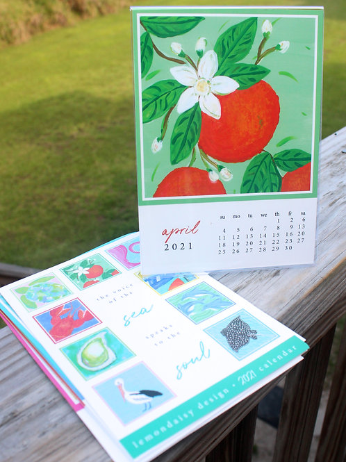 2021 Coastal Calendar with Acrylic Frame