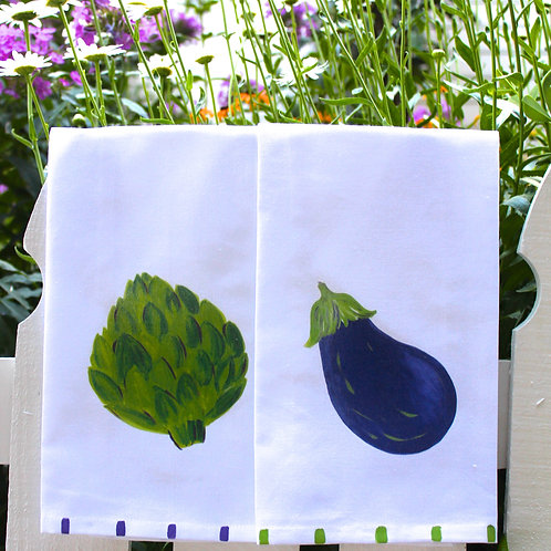Artichoke & Eggplant Kitchen Towel