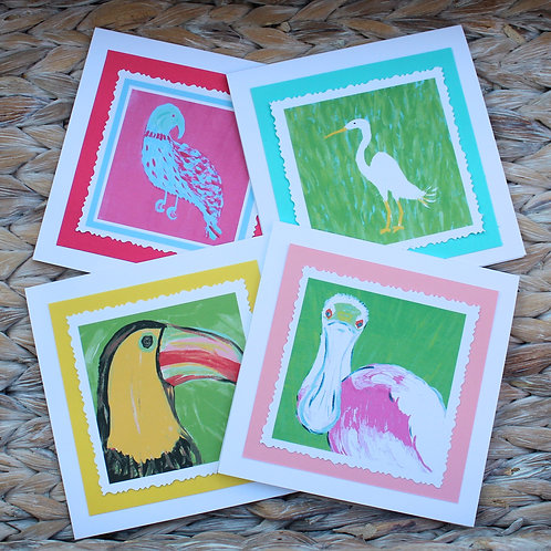 Colorful Tropical Birds Note Card Set