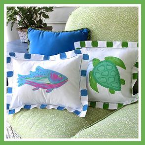 Beach Linen Pillows Chinoiserie PIllow