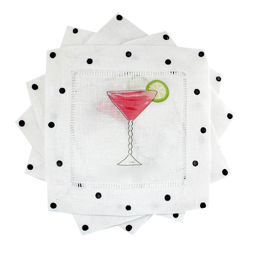 Pink Cosmo Linen Cocktail Napkins