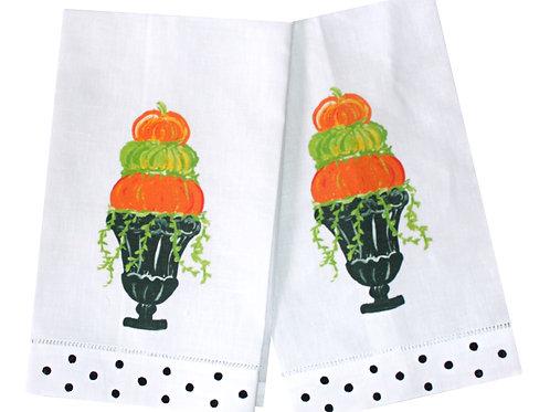 Printed Pumpkin Topiary Linen Guest Towels