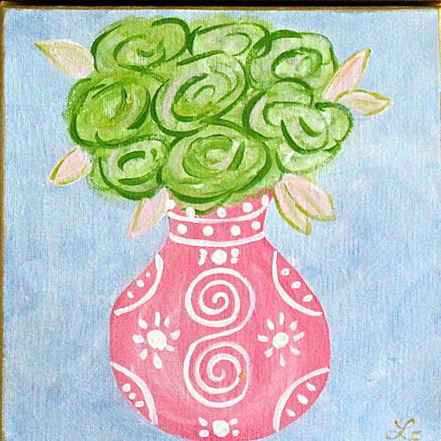 """Pink Chinoiserie Vase with Green Flowers  Original Art 8""""x8"""""""