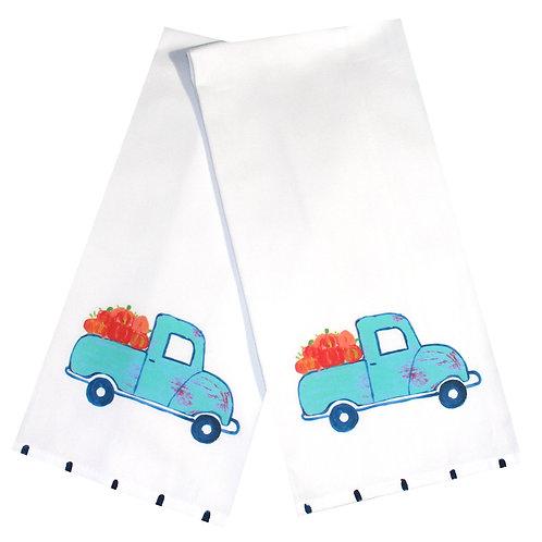 Turquoise Pumpkin Truck Kitchen Towel