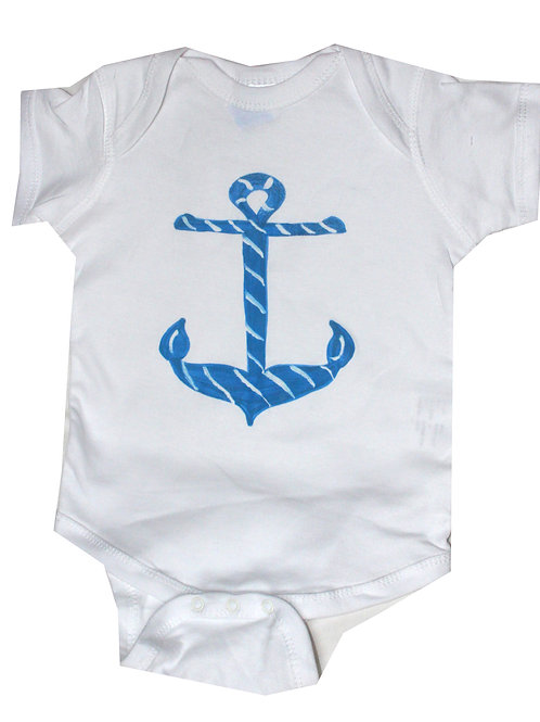 Nautical Blue Anchor Beach Baby Cotton Creeper