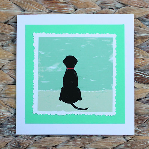 Black Beach Dog Note Card
