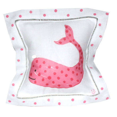 Pink  Whale Linen Pillow