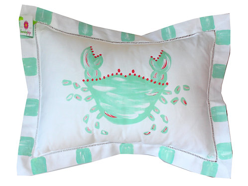 Minty Turquoise Crab Pillow