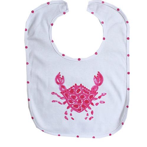 Hot Pink Crab Baby Bib