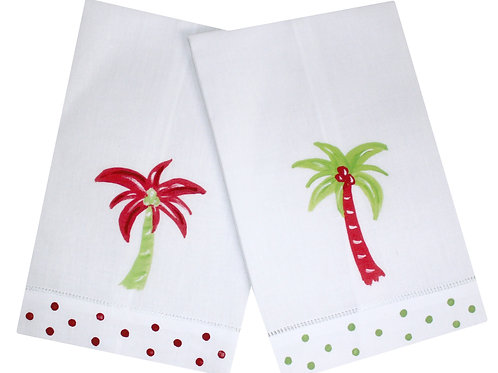 Coastal Christmas Palm Tree Linen Guest Towel Set