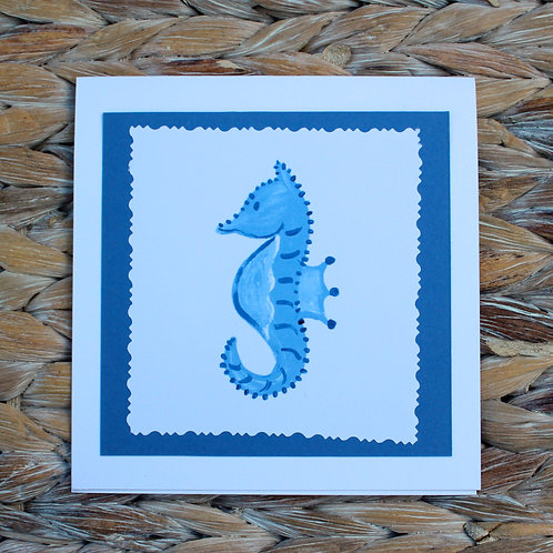 Blue and White Sea Horse Note Card