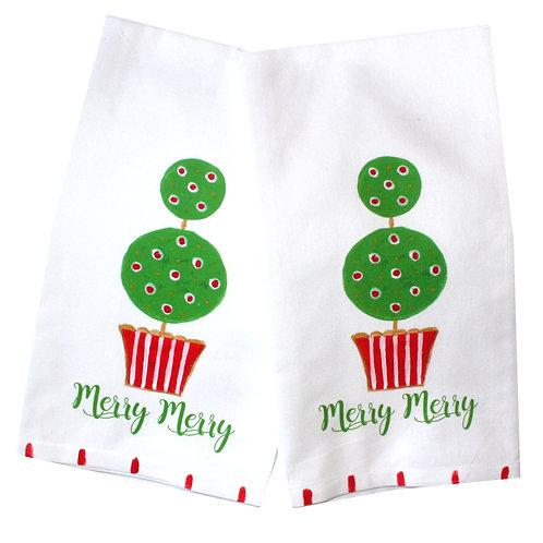Merry Merry Christmas Topiary Kitchen Tea Towel