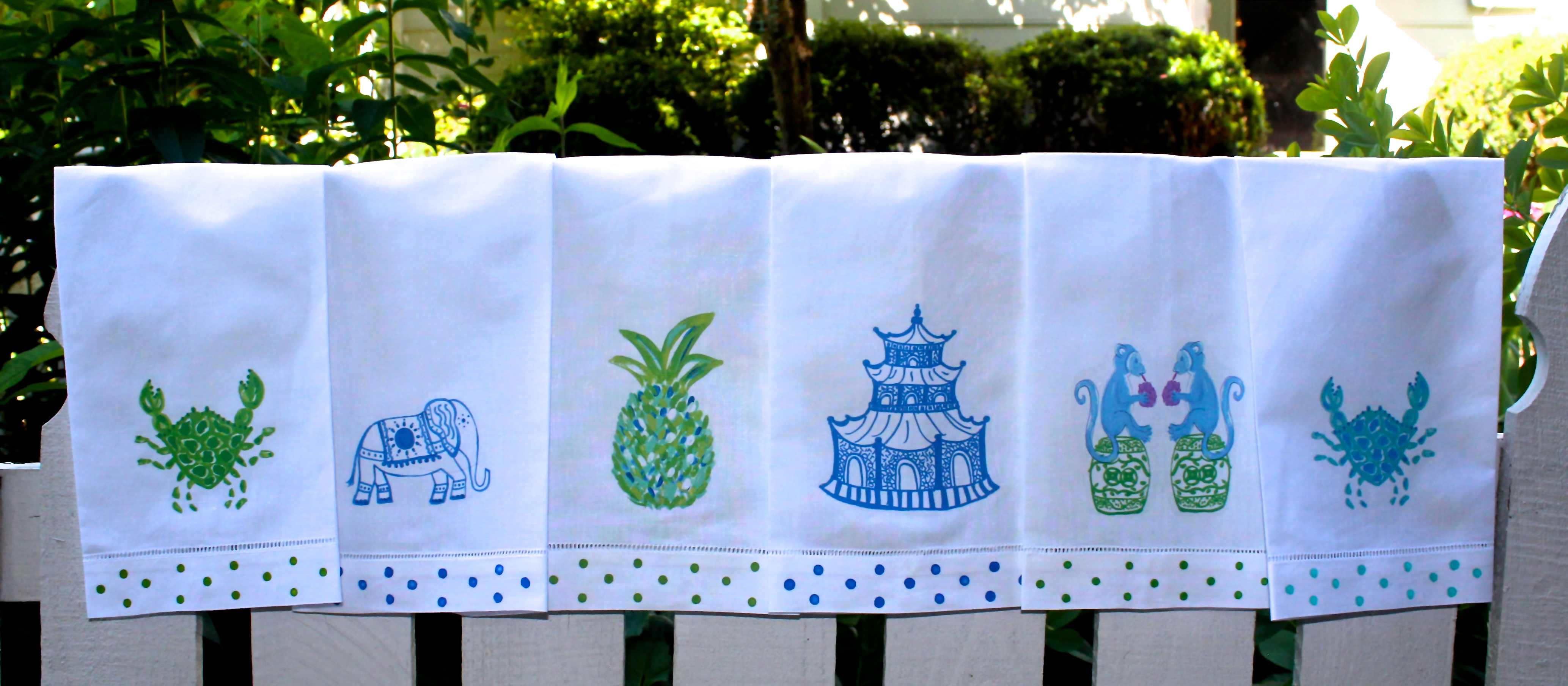 Chinoiserie Chic Linen Guest Towels