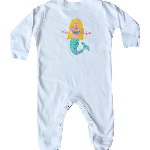 Teal Mermaid Long Sleeve Beach Baby Romper