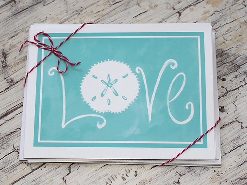 Turquoise Sand Dollar LOVE Note Card Set