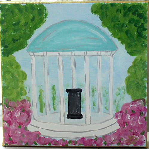 """UNC Old Well Original Painting 5"""" x 5"""""""