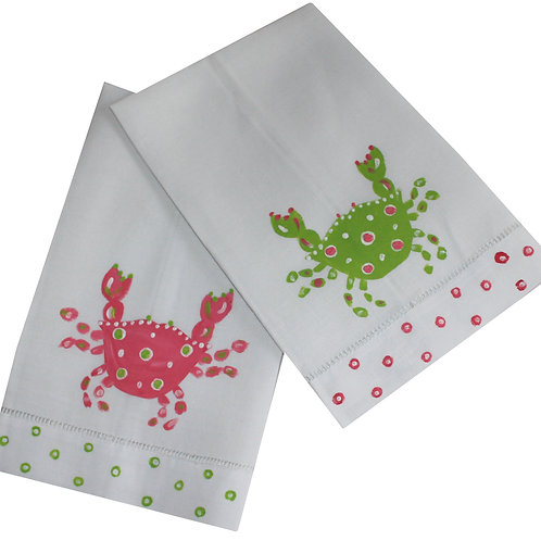 Pink & Green Crab Linen Guest Towel Set