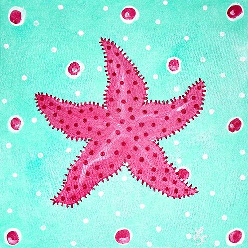 Hot Pink Starfish Original Beach Art