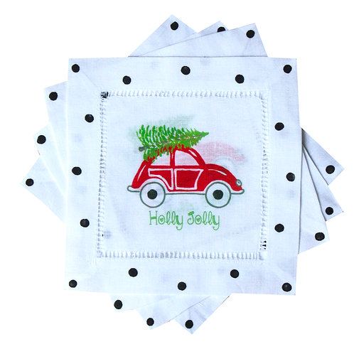 Red Christmas V-W- Bug Linen Cocktail Napkins