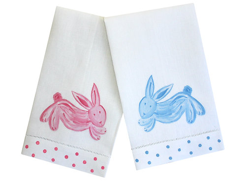 Pink or Blue Bunny Linen Guest Towel