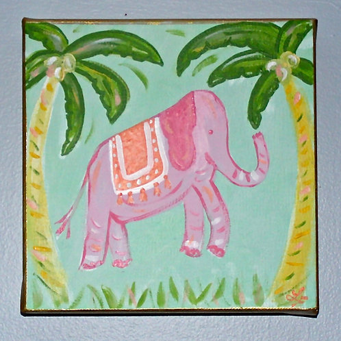 """Pink Elephant with Palm Trees Art 8""""x8"""""""