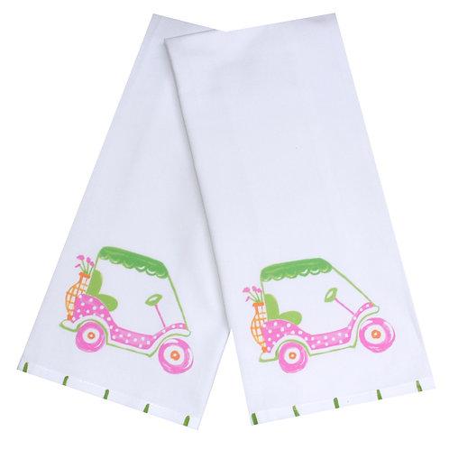 Pink Golf Cart Kitchen Towel