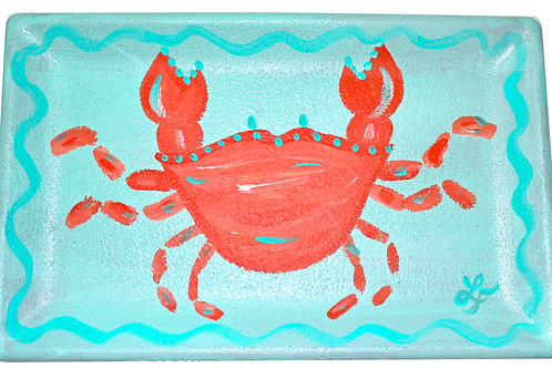 Turquoise & Orange Crab Decorative Tray